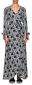 Natalie Martin Women's Danika Silk Cover-Up Maxi Dress-Navy, Blue, White