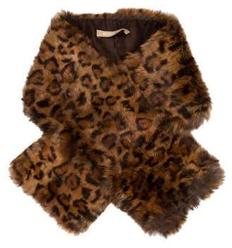 Michael Kors Leopard Patterned Fur Scarf