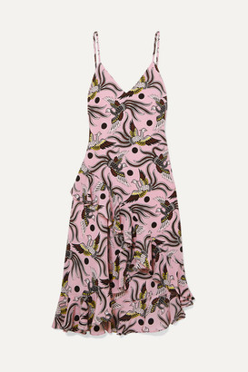 Kenzo Ruffled Printed Silk-crepe Midi Dress