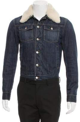 Christian Dior Shearling-Accented Denim Jacket