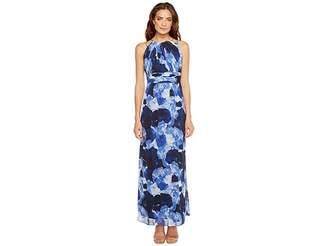 Sangria Dark Floral Print Chiffon Maxi with Chain Strap Detail Women's Dress