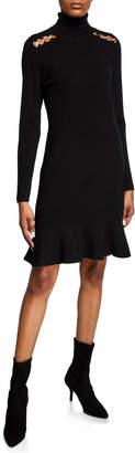 MICHAEL Michael Kors Turtleneck Flounce Long-Sleeve Dress