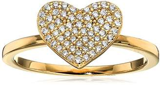 Crislu Simply Pave 18K Gold Plated Sterling Silver Cubic Zirconia Heart Ring