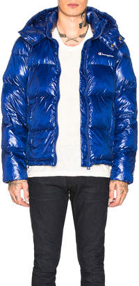 Champion Reverse Weave Hooded Puffer Jacket in Royal Blue | FWRD