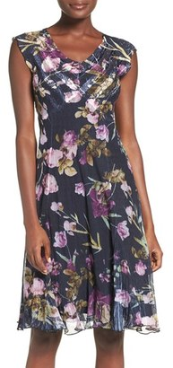 Petite Women's Komarov Floral Print Chiffon A-Line Dress $298 thestylecure.com