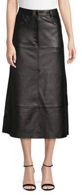 Sandro Simplicite Leather Midi Skirt