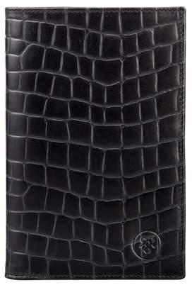 Maxwell Scott Bags Black Crocodile Print Leather Breast Pocket Wallet