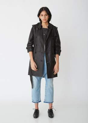 R 13 Leather 3/4 Sleeve Trench Coat
