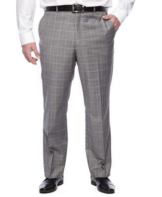 STAFFORD Stafford Travel Gray Blue Windowpane Stretch Classic Fit Suit Pants - Big & Tall