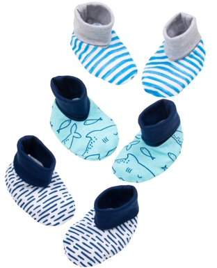 Little Star Organic Newborn Baby Boy Booties, 3-pack