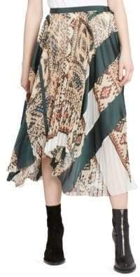 Sacai Printed Plisse Satin Midi Skirt