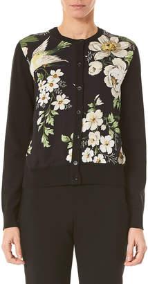 Carolina Herrera Midnight Floral Button-Front Cardigan