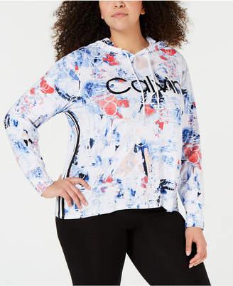 Calvin Klein Plus Size Metallic-Logo Varsity Stripe Hoodie