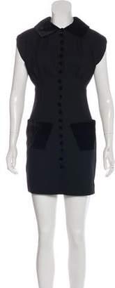 L'Wren Scott Virgin Wool Velvet-Trimmed Dress