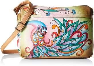 Anuschka Anna by Women's Genuine Leather Medium Shoulder Bag | Hand Painted Original Artwork | Zip-Top Organizer |Royal Peacock