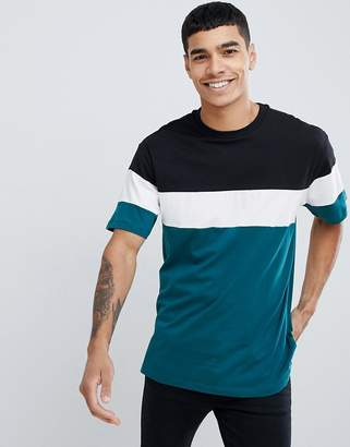 New Look oversized color block t-shirt in teal