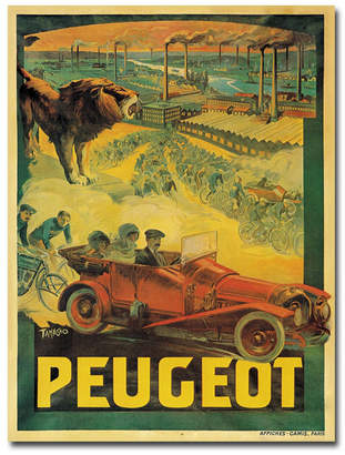 "Peugeot Francisco Tamagno 'Peugeot Cars 1908' Canvas Art - 32"" x 24"""