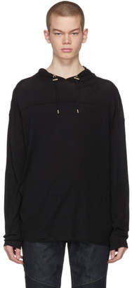 Balmain Black Cashmere Jersey Hoodie