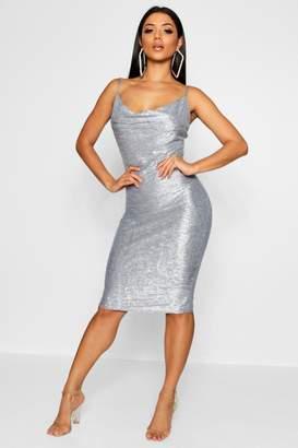 boohoo Metallic Strappy Cowl Neck Midi Dress