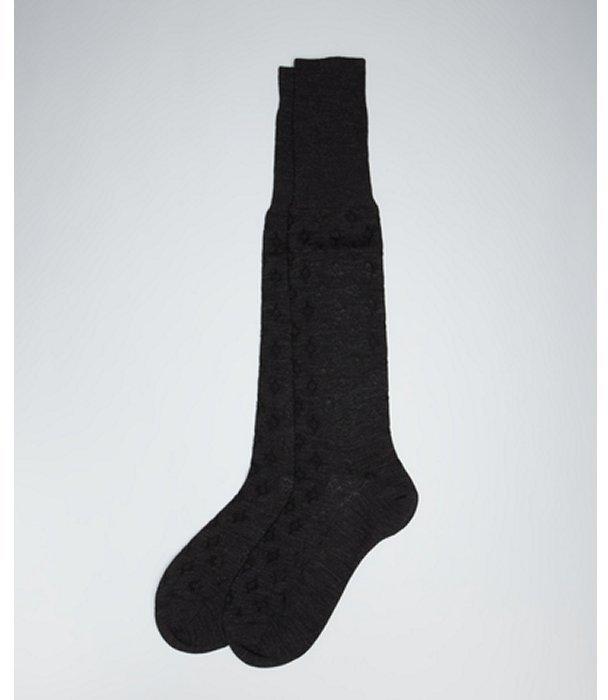 Prada smoke and black wool-cotton blend diamond patterned socks