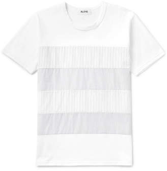 Aloye Slim-Fit Striped Poplin-Panelled Cotton-Jersey T-Shirt