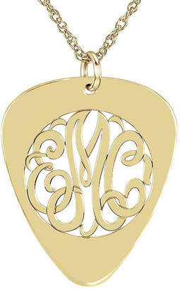 JCPenney FINE JEWELRY Personalized 14K Gold Over Sterling Silver Monogram Guitar Pick Pendant Necklace