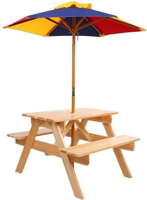 Big Fun Club Raffie Kids' Picnic Bench with Umbrella, Natural