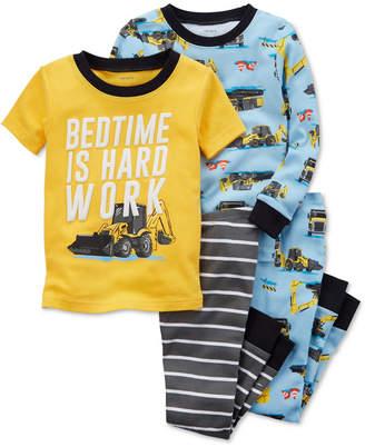 Carter's 4-Pc. Construction-Print Cotton Pajama Set, Baby Boys