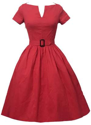 Tecrio Women 1950's Vintage Audrey Hepburn Style V Boat Neck Bridesmaid Dress S