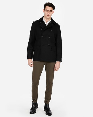 Express Water-Resistant Recycled Wool-Blend Military Peacoat