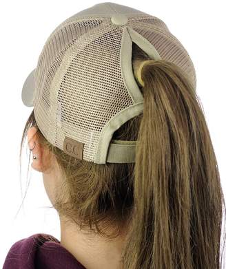 629e3d230dd48 C.C Ponycap Messy High Bun Ponytail Adjustable Mesh Trucker Baseball Cap Hat