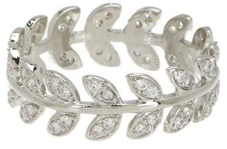 Shashi 18K White Gold Plated Sterling Silver Pave Crystal Leaf Band Ring