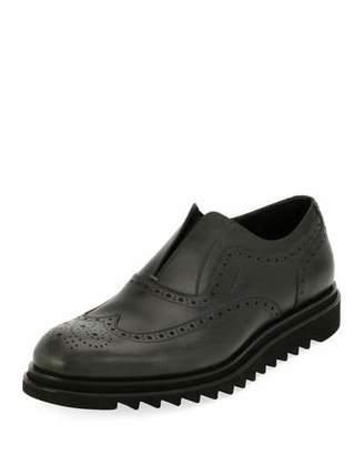 Salvatore Ferragamo Men's Leather Wing-Tip Slip-On Sneaker, Gray