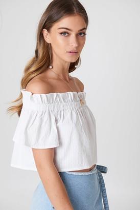 Debiflue X Na Kd Off Shoulder Short Sleeve Top Blue/White Stripe