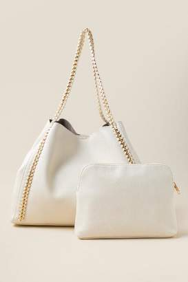 francesca's Charlotte Chain Tote - Ivory