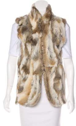 Adrienne Landau Fur Stand Up Collar Vest