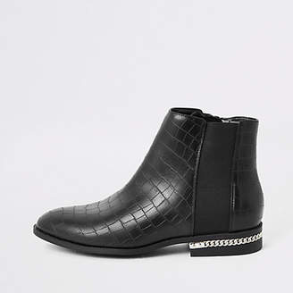 River Island Black croc embossed ankle boots