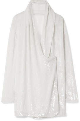 Balmain Wrap-effect Draped Sequined Silk-tulle Top - White