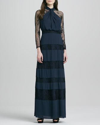 ALICE by Temperley Regalia Lace-Inset Long-Sleeve Gown, Midnight