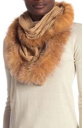 Surell Pointelle Knit Genuine Fox Fur Trim Infinity Scarf