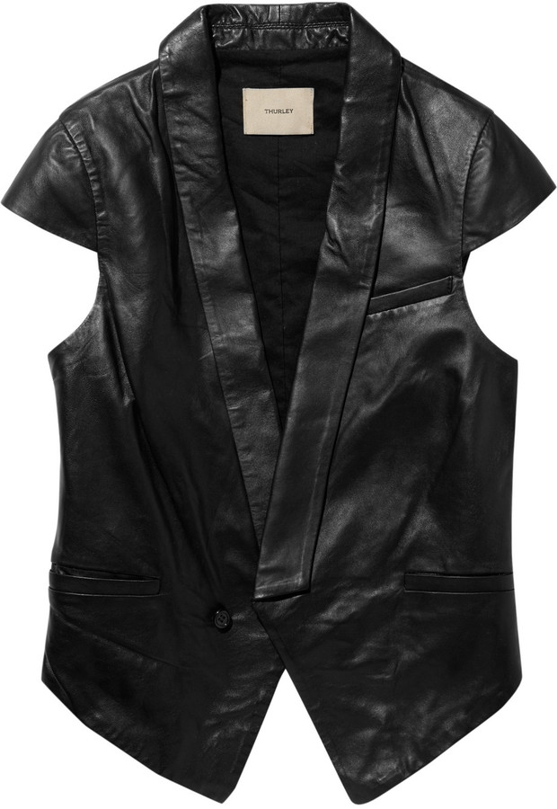 Thurley Cap-sleeved leather vest