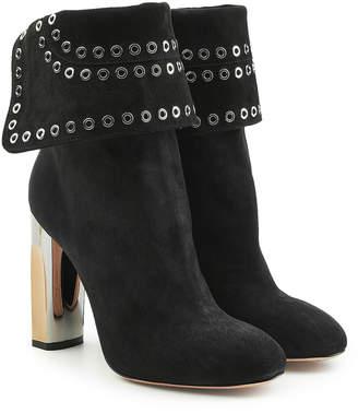 Alexander McQueen Embellished Suede Booties with Metallic Heels