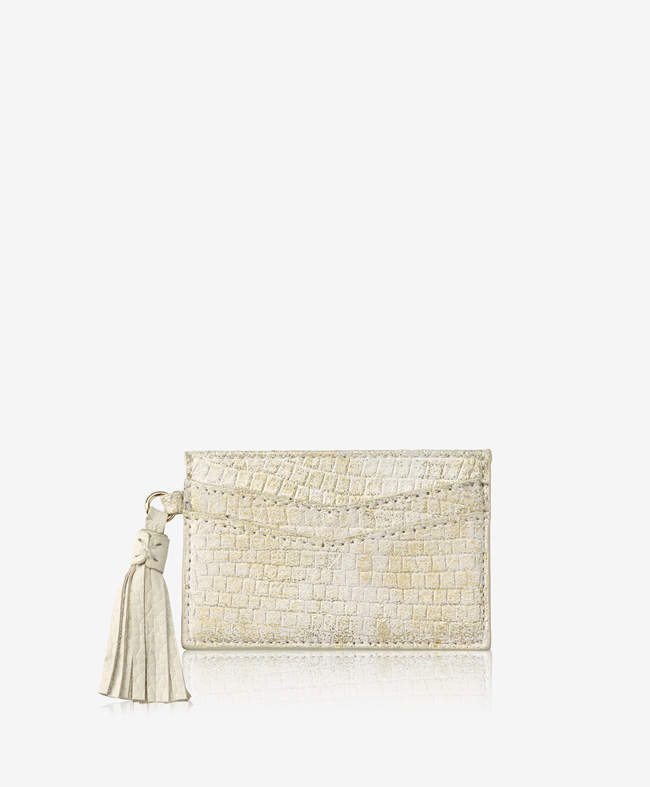 Slim Card Case with Tassel Shagreen Leather
