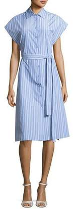 Rosetta Getty Button-Down Cap-Sleeve Striped Shirtdress