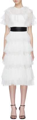Needle & Thread Scalloped tiered dot jacquard tulle dress