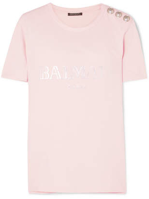 Balmain Button-embellished Printed Cotton-jersey T-shirt - Pink