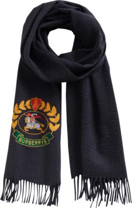 Burberry Burberry's large crest embroidered scarf 168x30