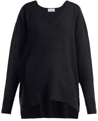 Raey V Neck Ribbed Cashmere Sweater - Womens - Navy