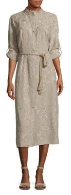 T Tahari Button-Front Embroidered Dress