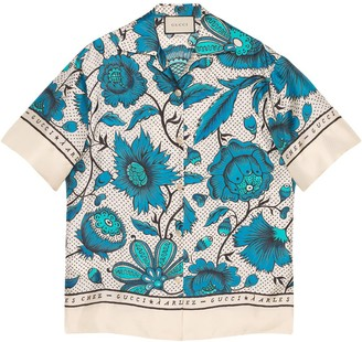 Gucci Bowling shirt with watercolor flowers